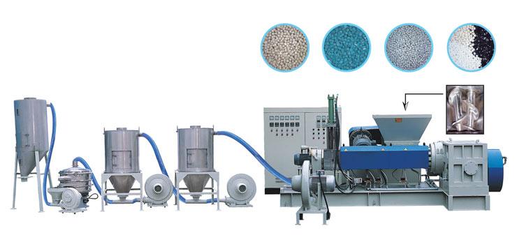 双锥式高速造粒整厂设备(风冷式)